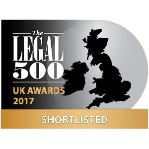 Legal 500 - UK Awards 2017- Shortlisted- Personal Injury