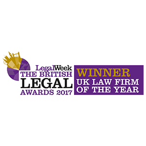 British Legal Awards - UK Law Firm of the Year - Winner 2017