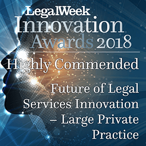 Legal Week Innovation Award logo - Highly Commended